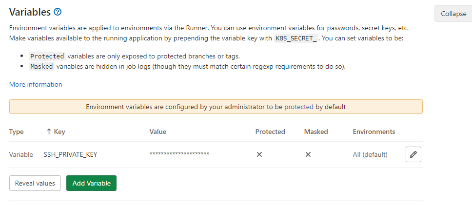 Configuration for continuous deployment variables in GitLab